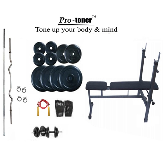 Protoner Home Gym 32 Kgs Protoner Weight Lifting Bench Incline/Decline
