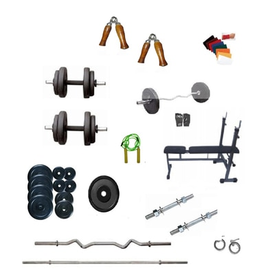 Dreamfit 50 Kg Adjustable Grip Dumbell Rubber Plate And 4 Rods And Flat Bench And Accessories
