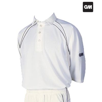GM 7205 Half Sleeve Cricket T-Shirt (White With Navy Trim)