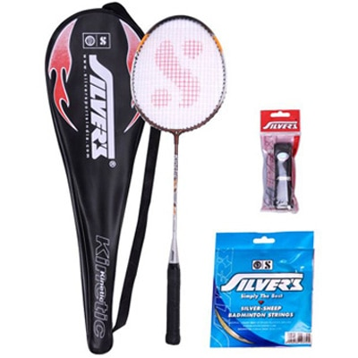 Silver'S Micro Badminton Racket With Full Cover(Assorted) + Silver'S Pvc Grip + Silver'S Sheep Badminton Gut 0.80Mm(10M)