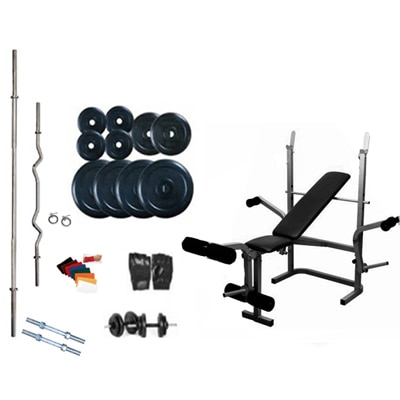 Protoner Home Gym Weight Lifting Package 50 Kgs With 5 In 1 Bench