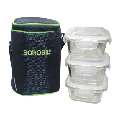 Borosil Microwavable Lunch Box Set Of 3 Square 320Ml