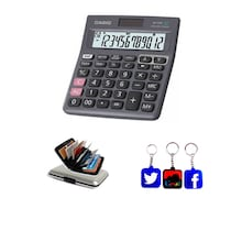 Casio Check MJ-120D Basic Calculator With Key Chain And ATM Wallet - Black (12 Digit)