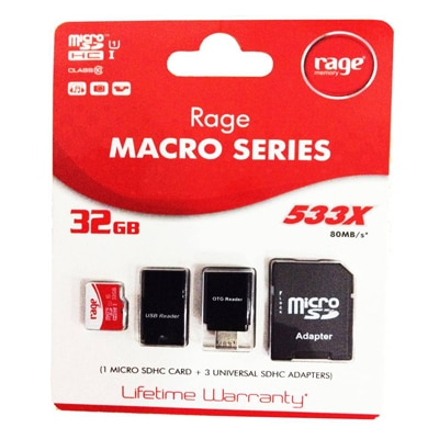 Rage Micro SD 32 GB Class 10 Memory Card  With Adapter (Pack Of 4)