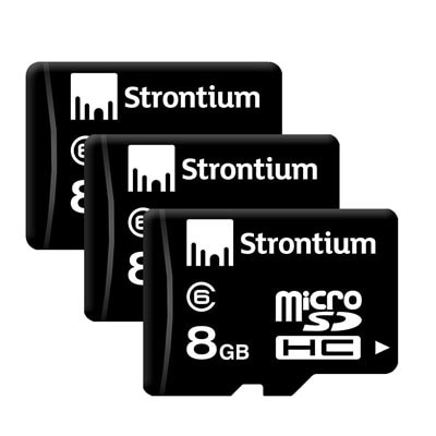 Strontium Micro SDHC 8 GB Class 6 Memory Card (Black) (Pack Of 3)