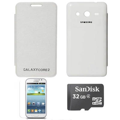 TBZ Flip Cover For Samsung Galaxy Core 2 G355H With Screen Guard And 32 GB Micro SD (White)