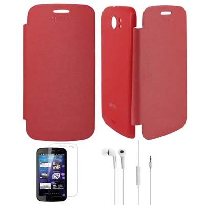 TBZ Flip Cover For Micromax Superfone Canvas 2 A110 With Screen Guard And Earphones (Red)