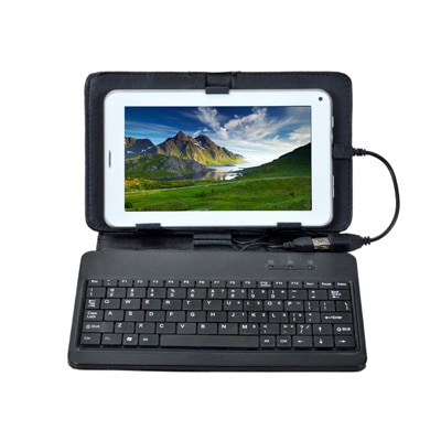 Tescom Calling Tablet With Keyboard Case For 7 Inch Tablet (White)