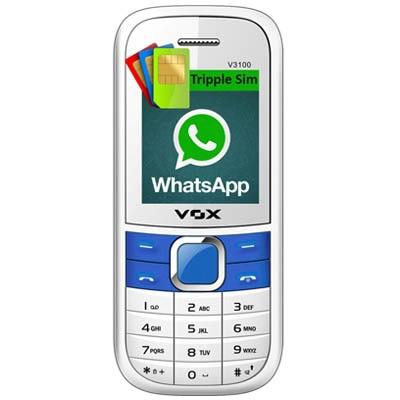 Vox 3100 Triple Sim Mobile With WhatsApp (White & Blue)