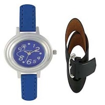 Crude Blue Analog Watch With Belt -Combo