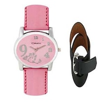 Crude Pink Analog Watch With Belt -Combo