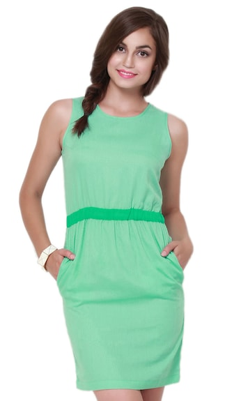 Nineteen Green Polyester Dress - (Size-L)