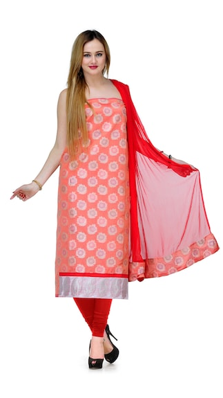 Gopeeka Orange Chanderi Unstitched Suit With Dupatta