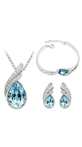 Cyan Ocean Blue Austrian Crystal Necklace Set Combo With Crystal Earrings And Charming Crystal Bracelet