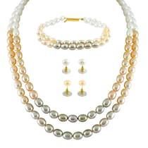 Jpearls Colourfule Necklace Set With Bracelet