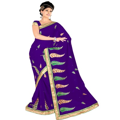 Shopgenx Violet Designer Party Wear Embroidered Saree With Unstitched Blouse available at Paytm for Rs.1272