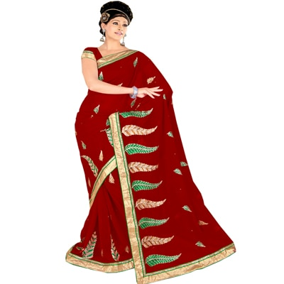 Shopgenx Red Designer Party Wear Embroidered Saree With Unstitched Blouse available at Paytm for Rs.1272