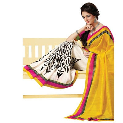 Bhavi Yellow Art Silk Sarees