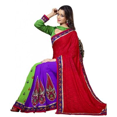 Triveni Traditional Embroidered Party Wear Indian Designer Ethnic Saree available at Paytm for Rs.2010