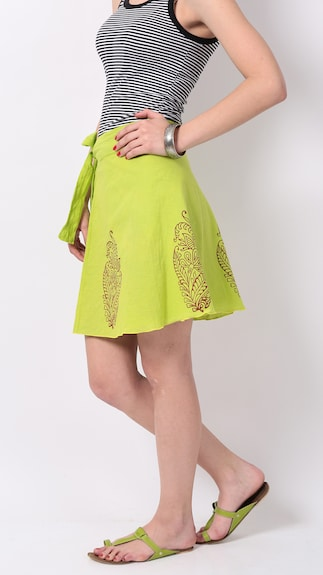 RangDesi Green Printed Cotton Short Skirt (Size-S)