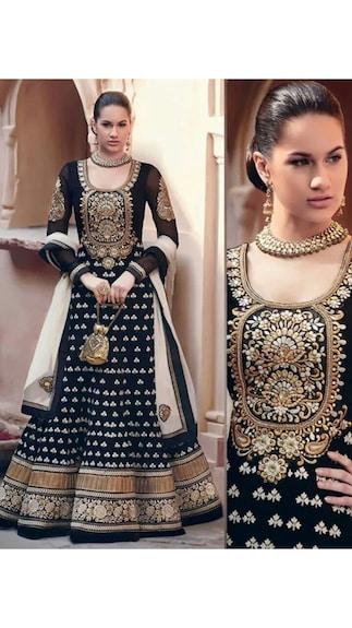 Khantil Embroidered Black Georgette Anarkali Dress Material