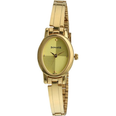 Sonata Women Oval Gold Analog Watch