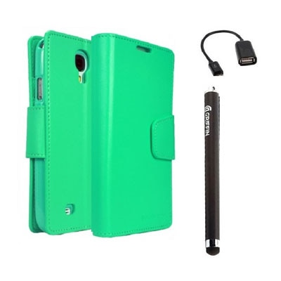 YGS Premium Dairy Wallet Case Cover For Samsung Galaxy Galaxy S4 I9500 (Mint) With Micro OTG And Griffin Stylus Pen (Green)