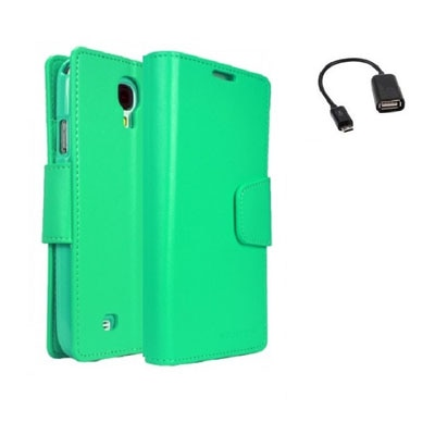 YGS Premium Dairy Wallet Case Cover For Samsung Galaxy Galaxy S4 I9500 (Mint) With Micro OTG (Green)