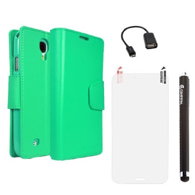 YGS Premium Dairy Wallet Case Cover For Samsung Galaxy Galaxy S4 I9500 (Mint) With Screen Guard And Micro OTG And Griffin Stylus Pen (Green)