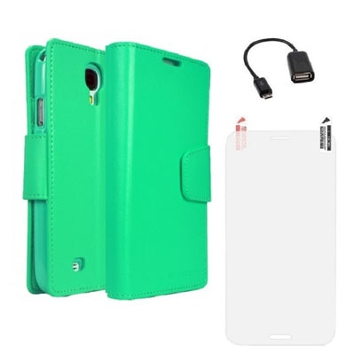 YGS Premium Dairy Wallet Case Cover For Samsung Galaxy Galaxy S4 I9500 (Mint) With Screen Guard And Micro OTG (Green)