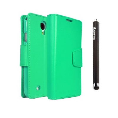 YGS Premium Dairy Wallet Case Cover For Samsung Galaxy Galaxy S4 I9500 (Mint) With Griffin Stylus Pen (Green)