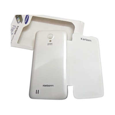 YS Flip Cover For Karbonn A21 (White)