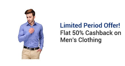 PayTM: Get FLAT 50% Cashback on Men's Clothing