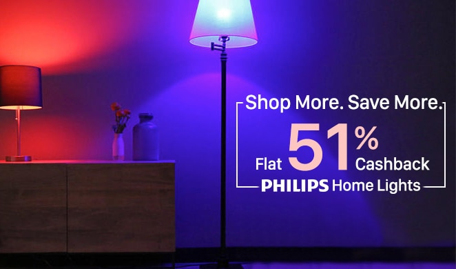 Philips Home lights Flat 51% Cashback