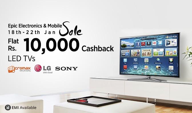 Flat 10000 cashback on Televisions
