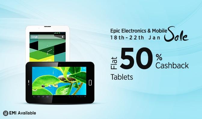 Tablets | Flat 50% Cashback | Homepage