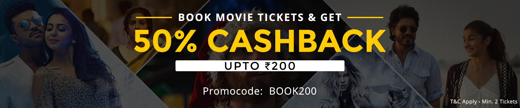 Get 50% cashback on movie tickets (upto max Rs 200) – Shop Online at Paytm.com