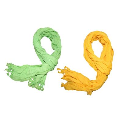 2 Pieces of Bacchus Men And Women Green & Yellow Cotton Scarf