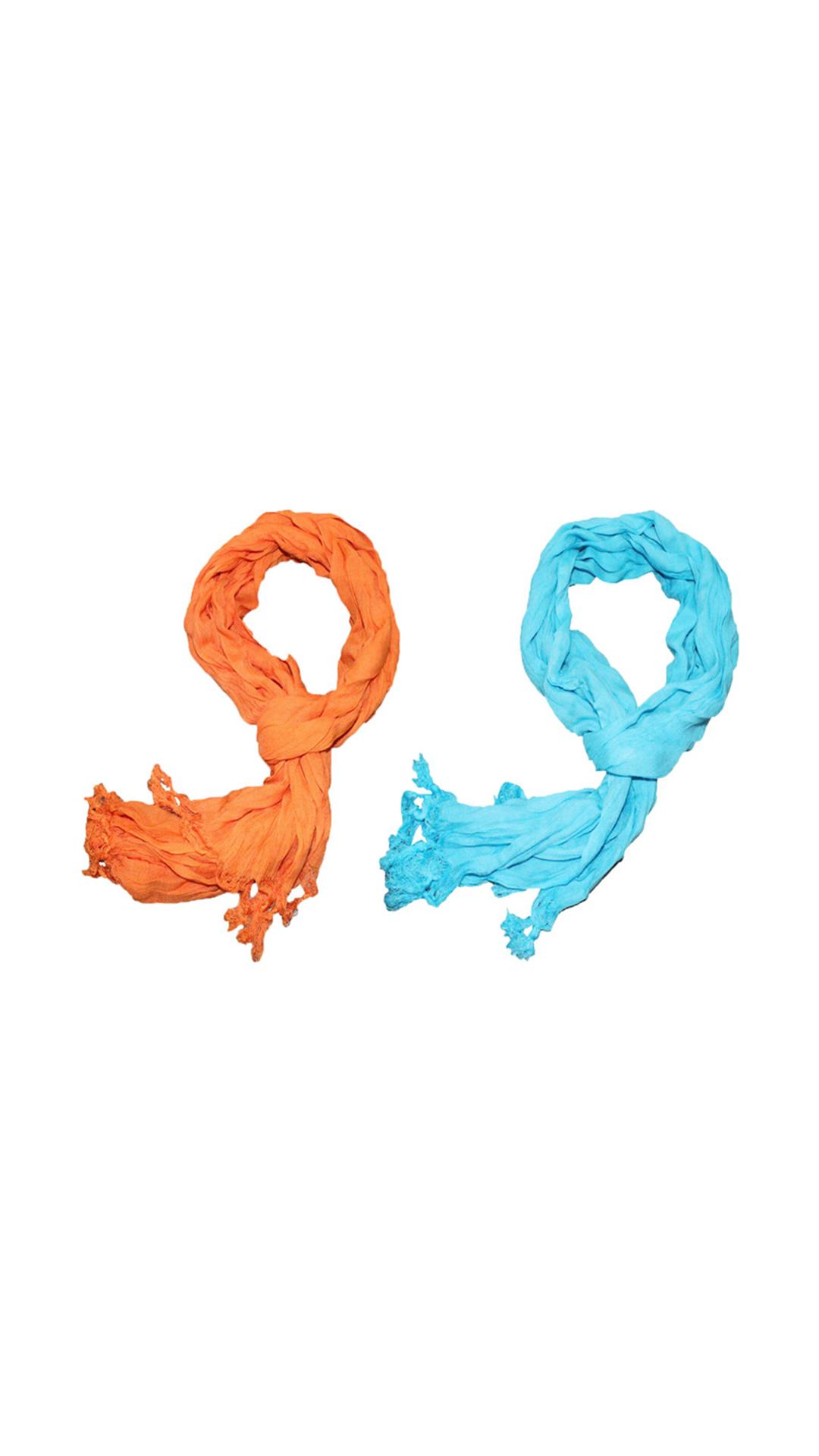 2 Pieces of Bacchus Men And Women Orange & Sky Cotton Scarf