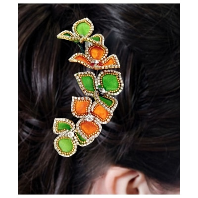 A beautiful and amazing Parrote Green & Orange hair Brooch with wedding party wear