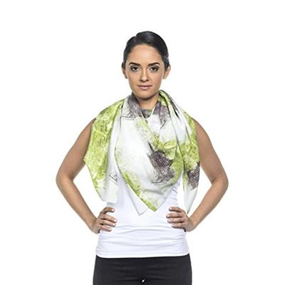 artTECA Unisex-Adult Silk Scarf by Damian Stamer Grey/Green One Size
