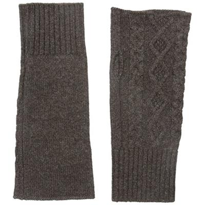 bela.nyc Women's Cashmere Cable Fingerless Gloves Chocolate Heather One Size