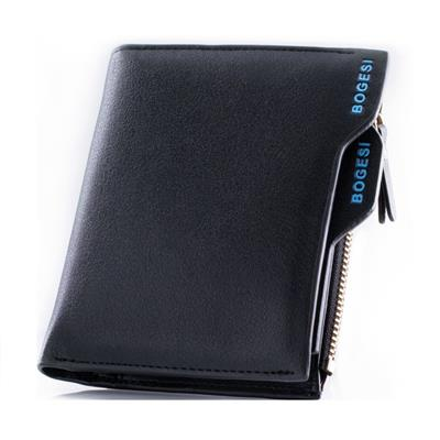 Bogesi Black Leather Regular Wallet for Men