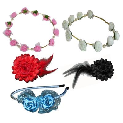 Combo Of Multi Color Hairband;Tic-tac With Tiara