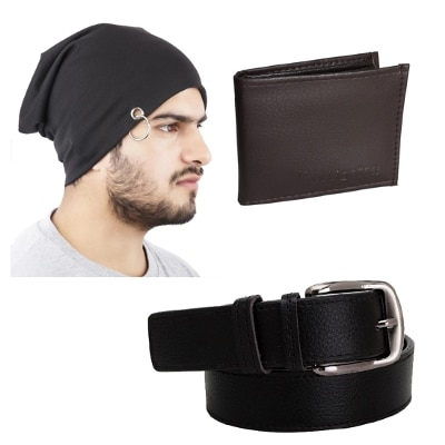 Elligator Stylish Winter Black Sloachy Ring Beanie Cap With Wallet & Belt For Men Combo (one Cap;One Wallet;One Belt)