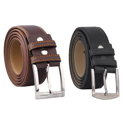 Fashno Combo Of Black and Brown PU Leather Belt