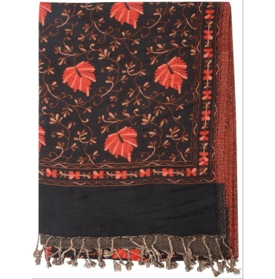 Garg Fashion Black Self Embroidery Stole Cum Muffler