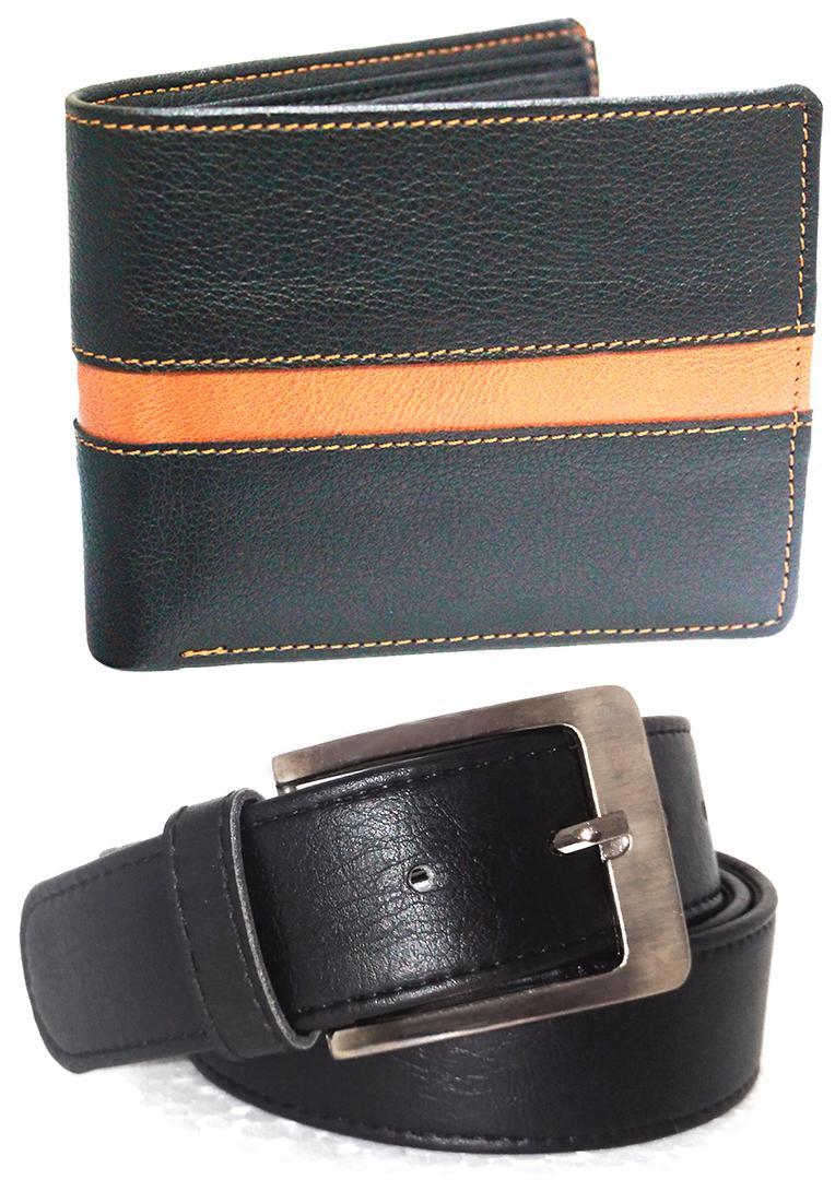 H.K. Enterprises PU Leather Belt and Wallet Set of 2 Combo 1