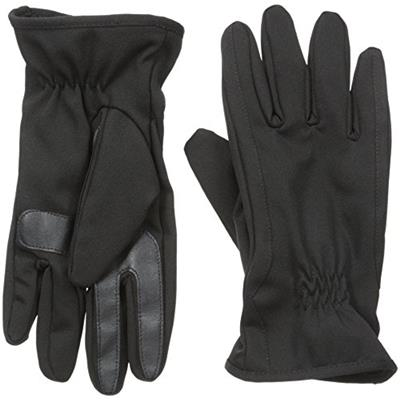 Isotoner Men's Smartouch Ultradry Allover Stretch Fleece Glove Black Medium