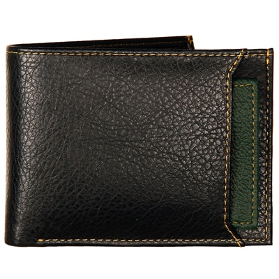 K London Black & Green Leatherite Men's Wallet (1420_GREEN)